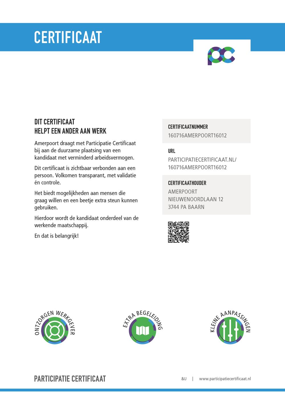 Certificaat Amerpoort