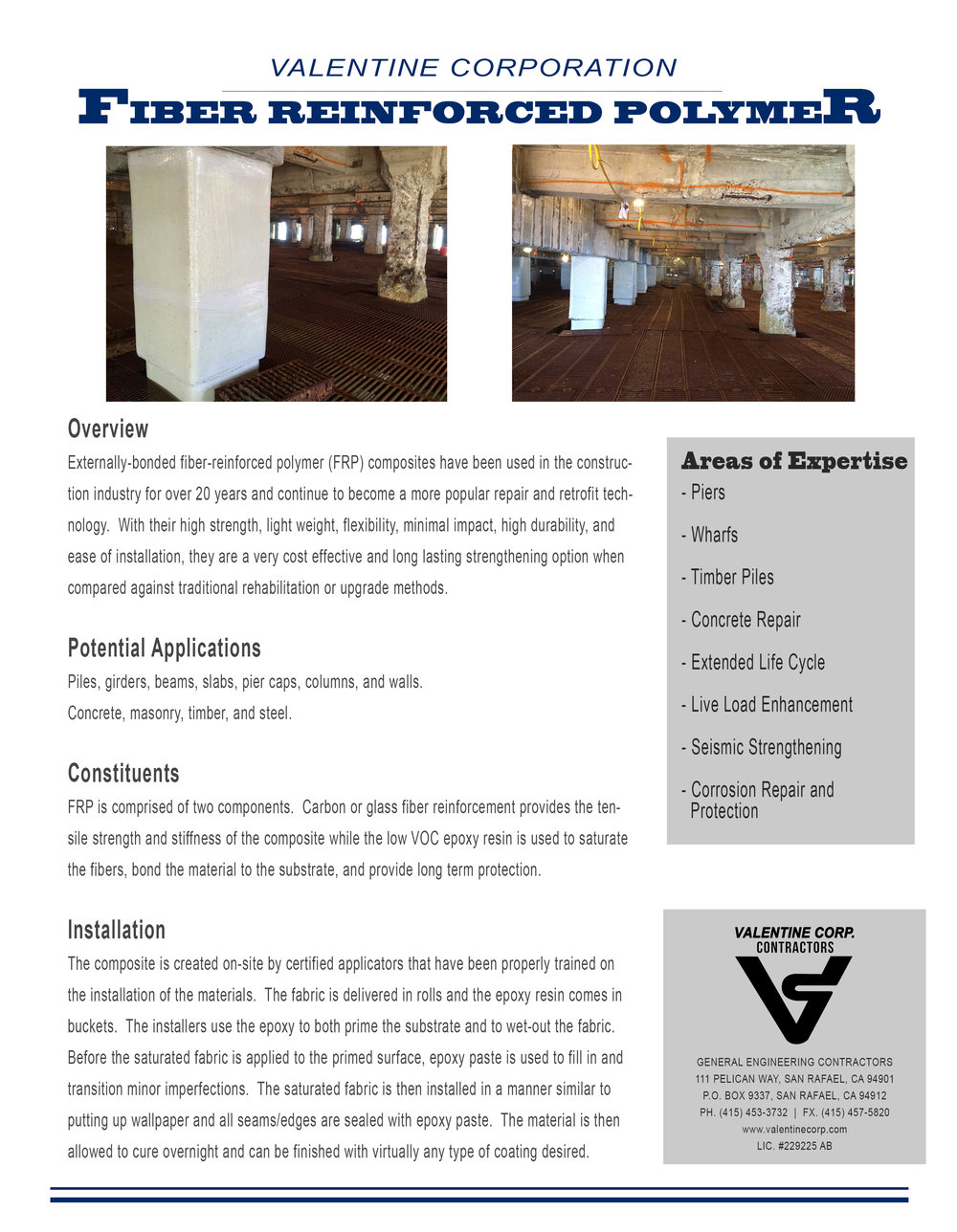 Valentine Corporation - Fiber Reinforced Polymer Information
