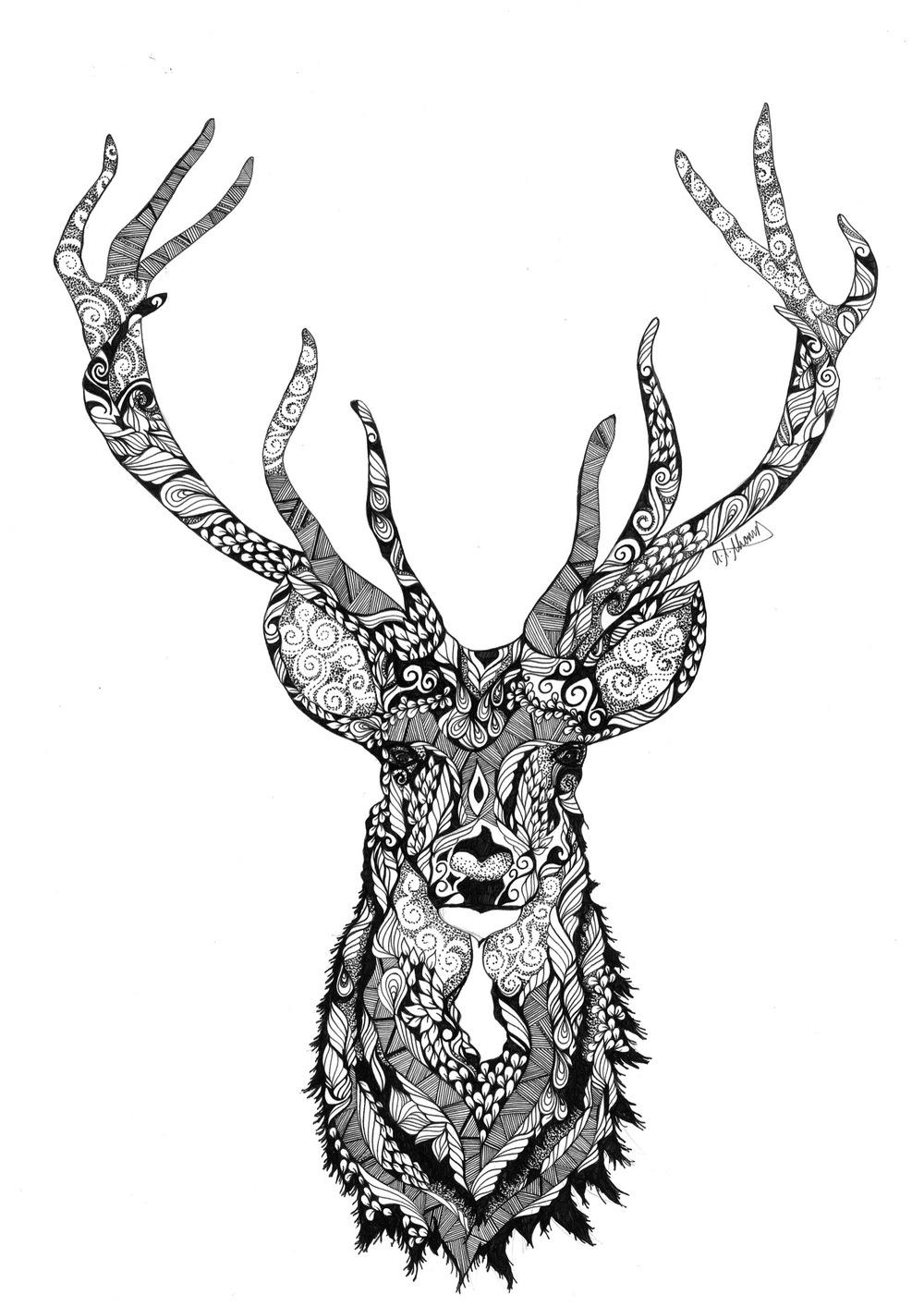 Kleurplaat Kerst Hert Deer Forest Wilderness Road
