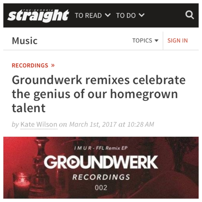Groundwerk Recordings 002 in Georgia Straight