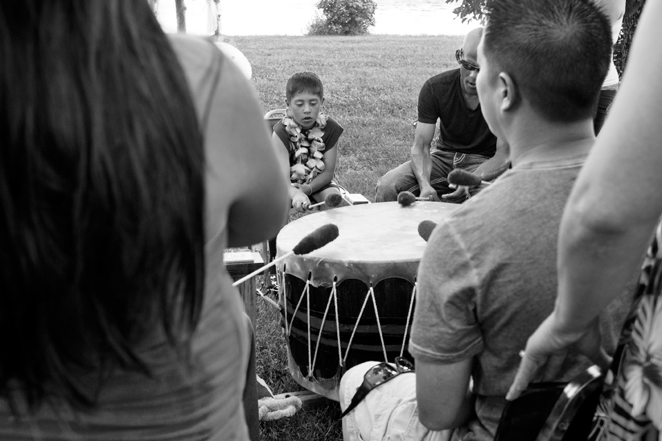 Aaron made the drum himself and family and friends sang while playing it.