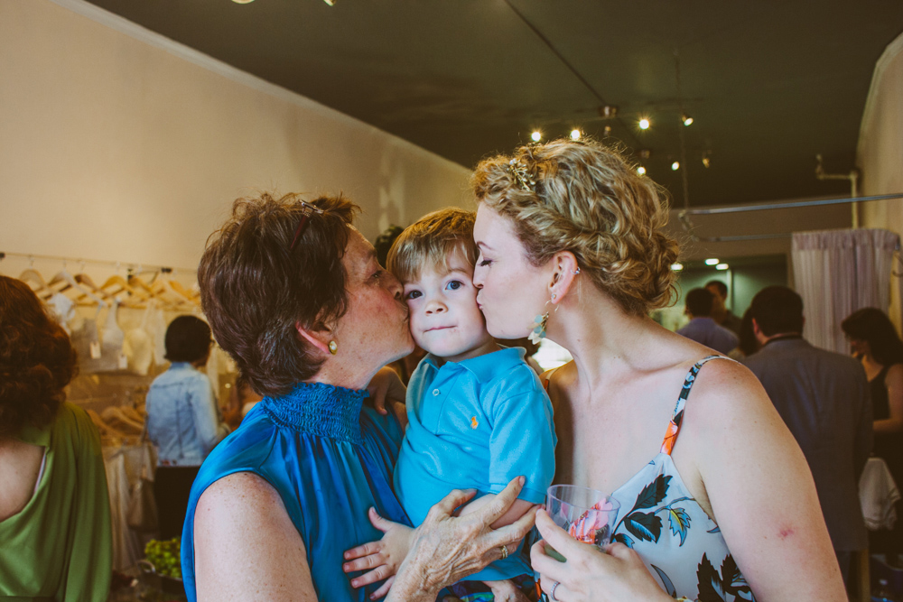 Caleb, Rebecca, and her talented mom Colleen at the first shop's opening party!
