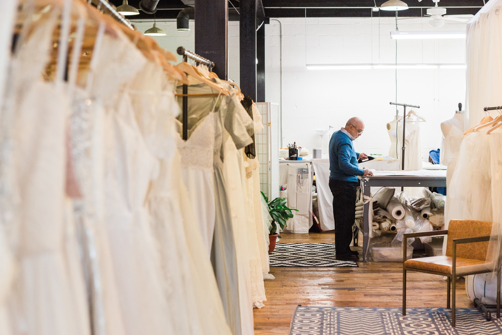 Our workspace is open to our shop- connecting brides directly to their gown's makers! (photo by Diane Hu)