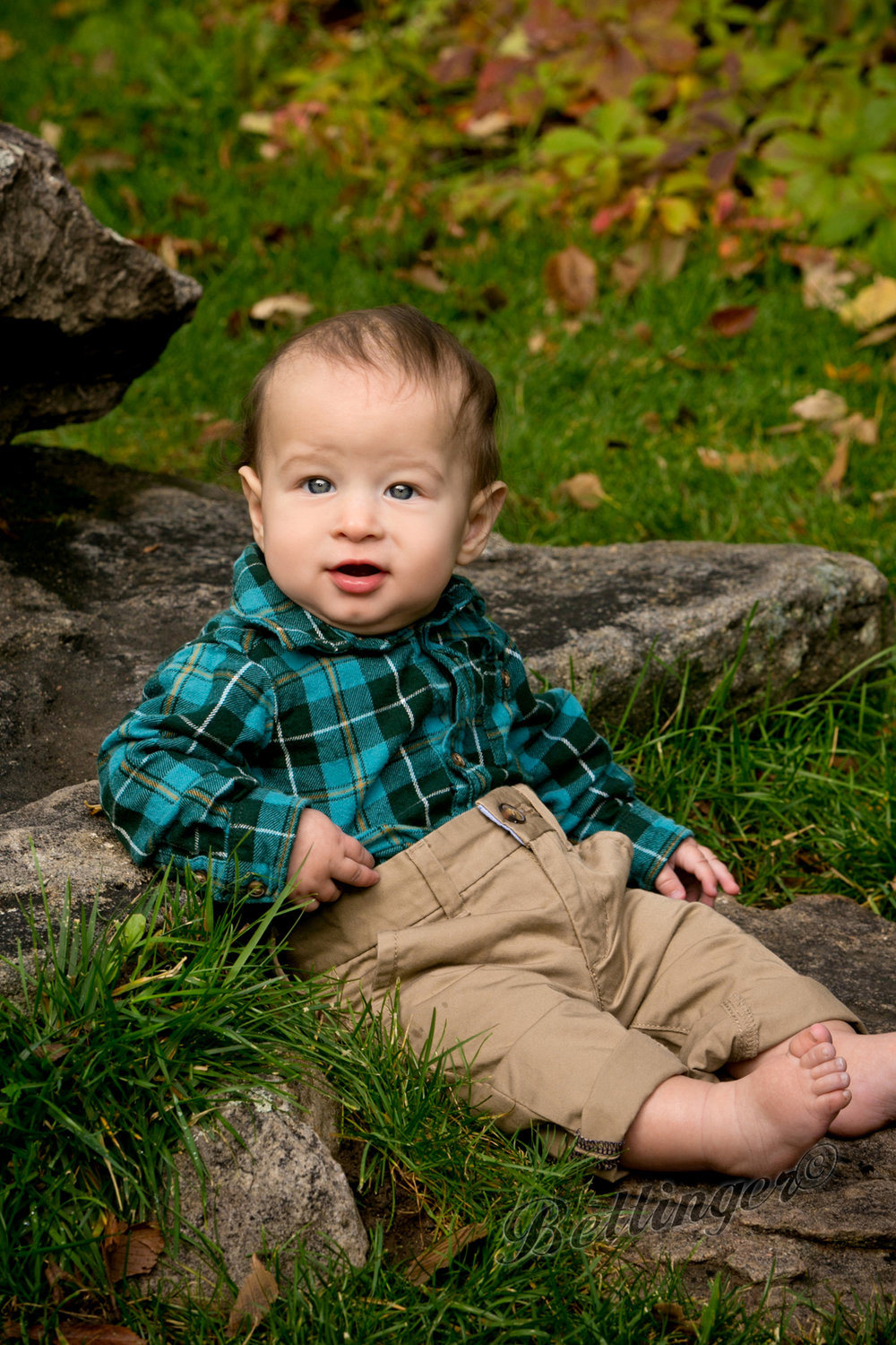 - At 6 months old, he got to hang out in our outdoor studio with the fall colors.  It was a beautiful day.