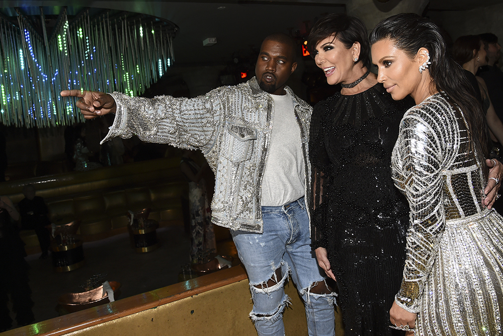 Kim Kardashian, Kris Jenner and Kanye West at Gilded Lily 2016 Met Gala Balmain After Party