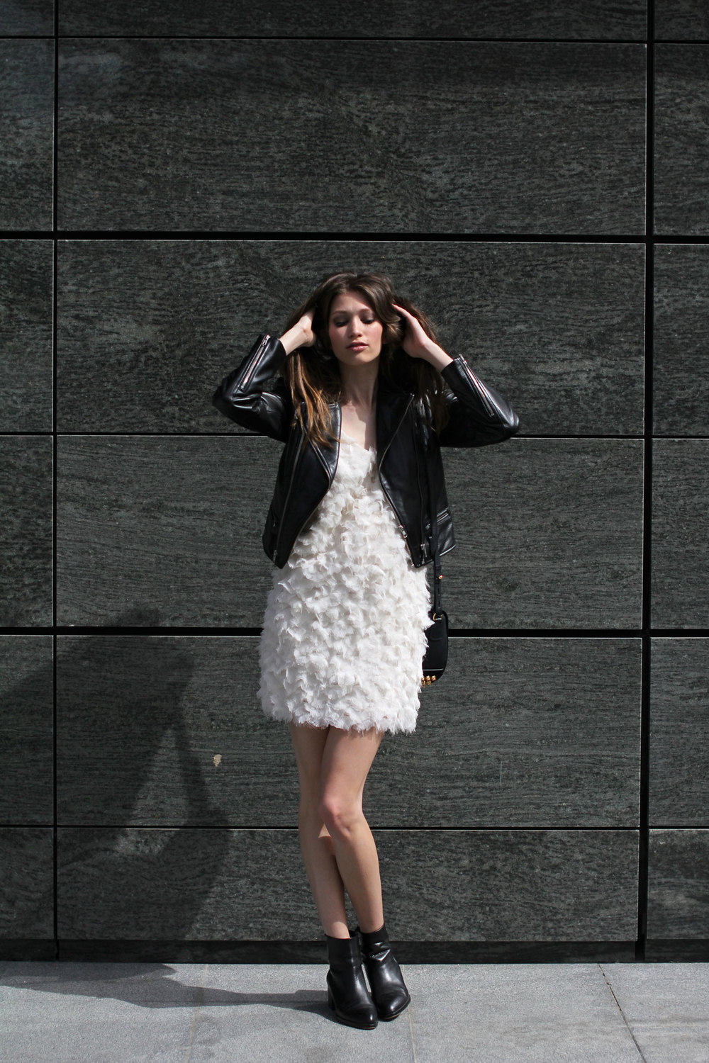 Elena Burba White Feather Dress