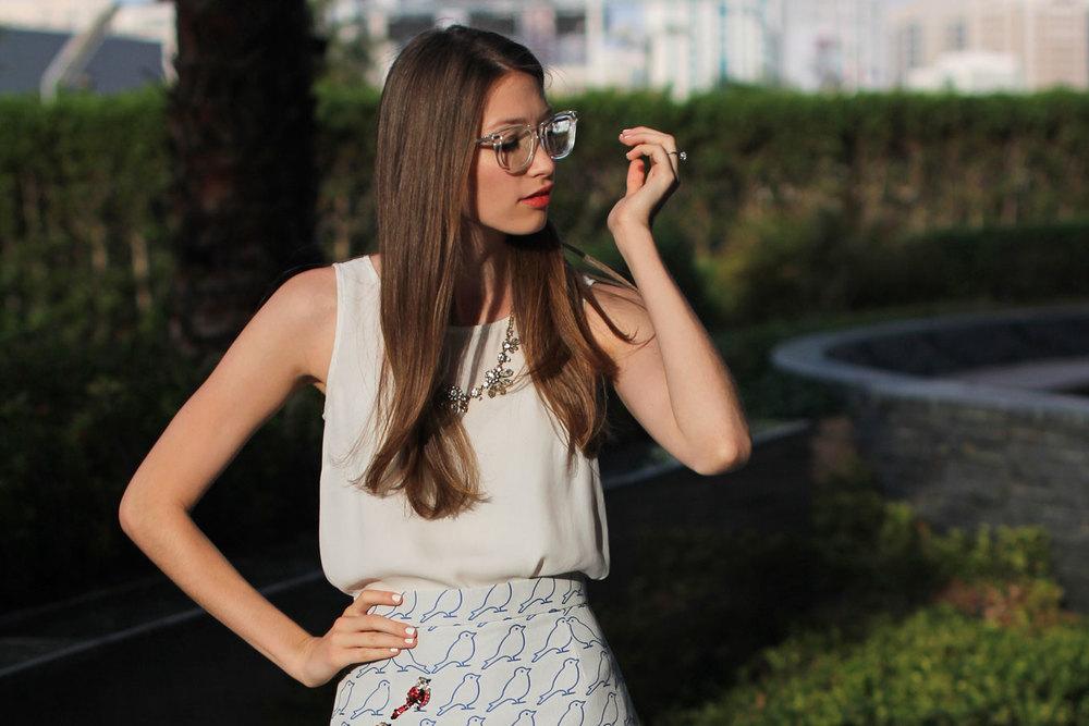 Elena Burba Bird Print Skirt
