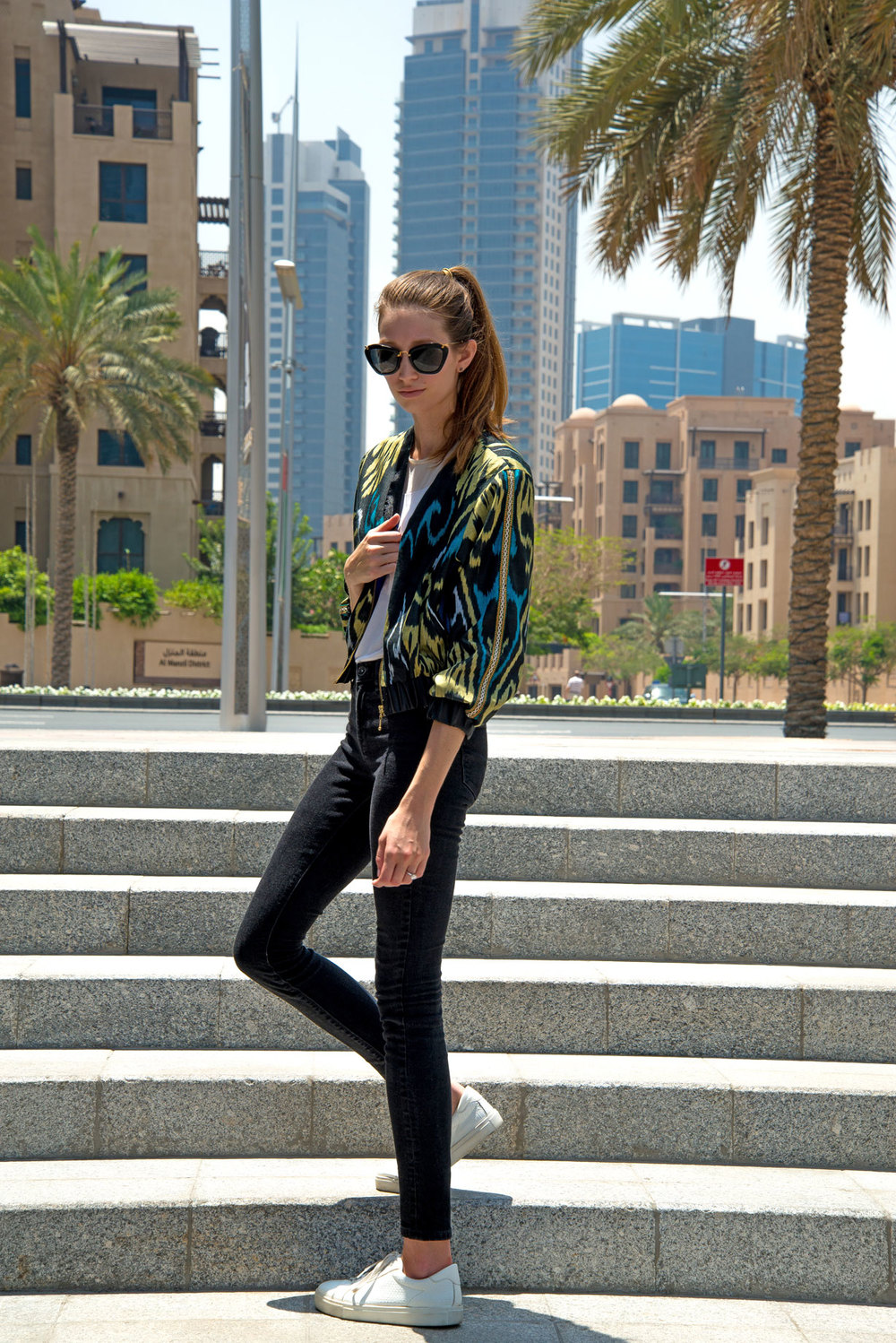 Bomber Jacket: SHADI by Dilbar & Sitora / Denim: Madewell / Sunglasses: Miu Miu / Photo by: Nathan Dunn