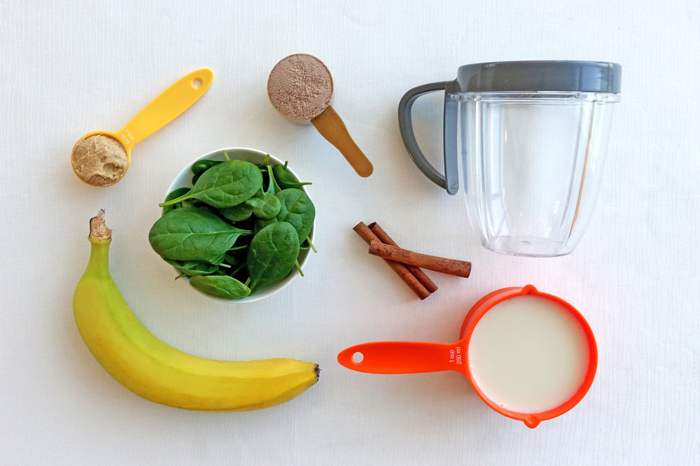 Peanut Butter, Banana and Spinach Smoothie