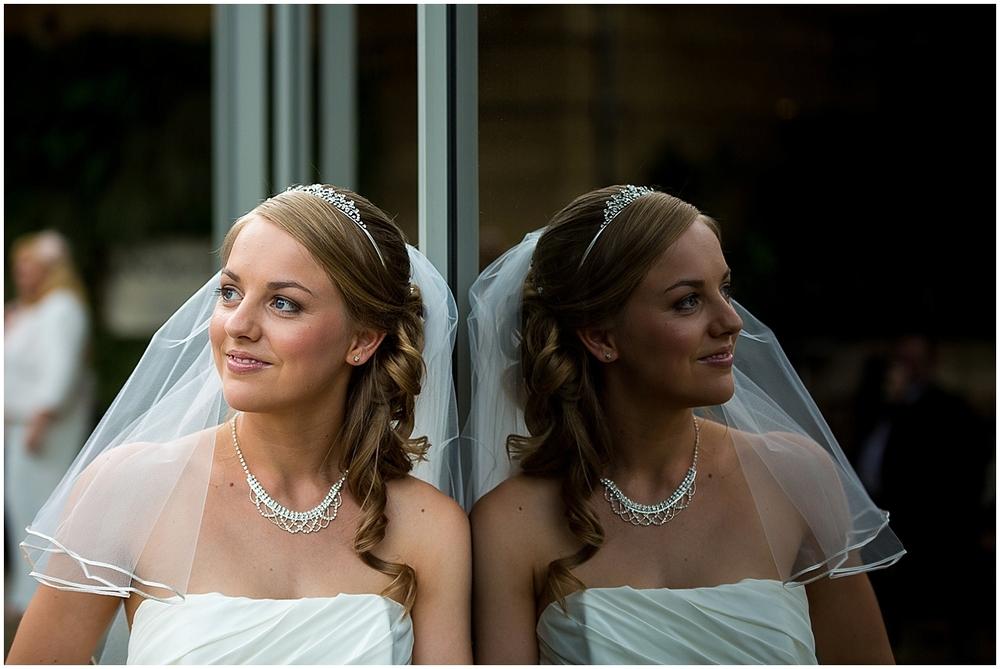 bridal portrait, reflection - Sheffield Wedding Photography