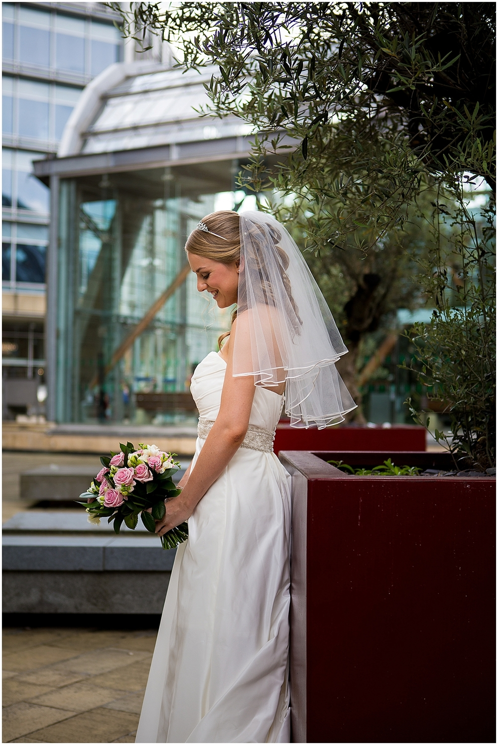 Beautiful bride outside winter gardens - Sheffield Wedding Photography