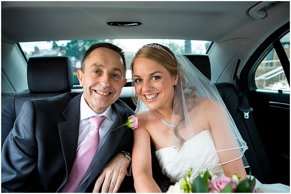 bride and father of the bride in the car - Sheffield Wedding Photography