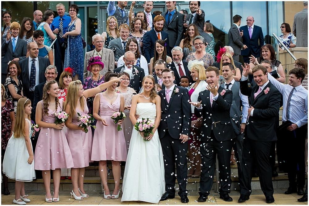 Confetti outside St Thomas Crookes - Sheffield Wedding Photography