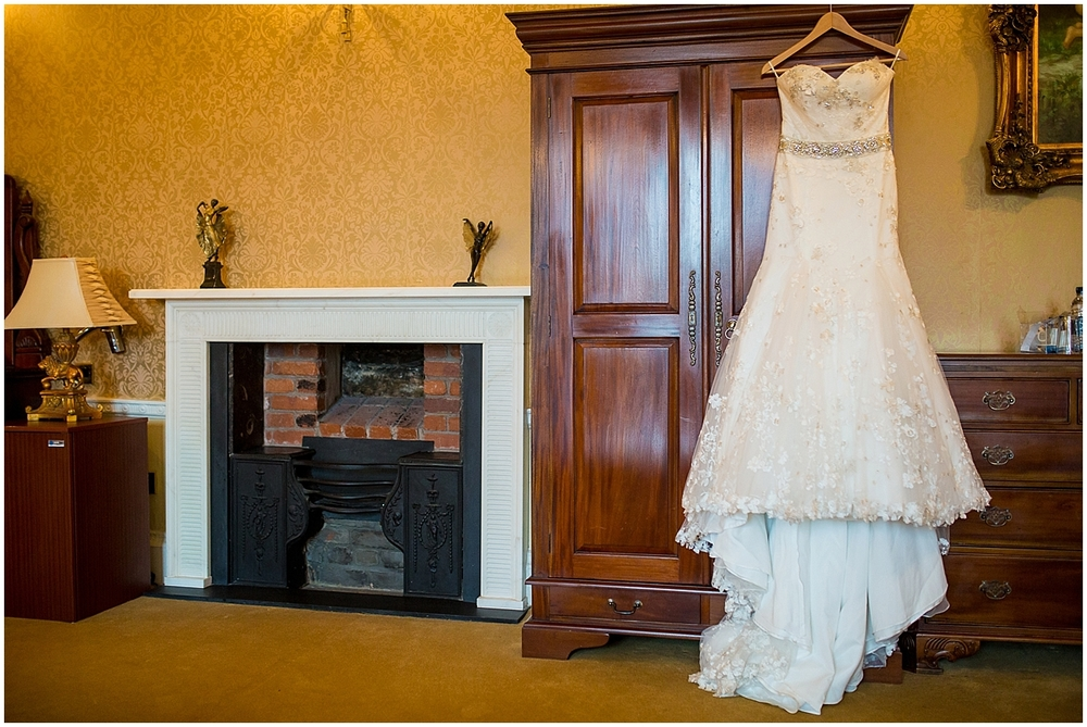 Wedding dress at Colwick Hall - Derby wedding photographers
