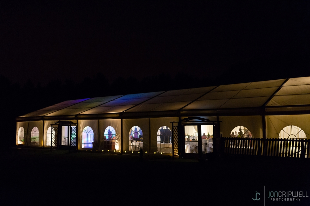Rosliston Forestry Centre Wedding marquee at night