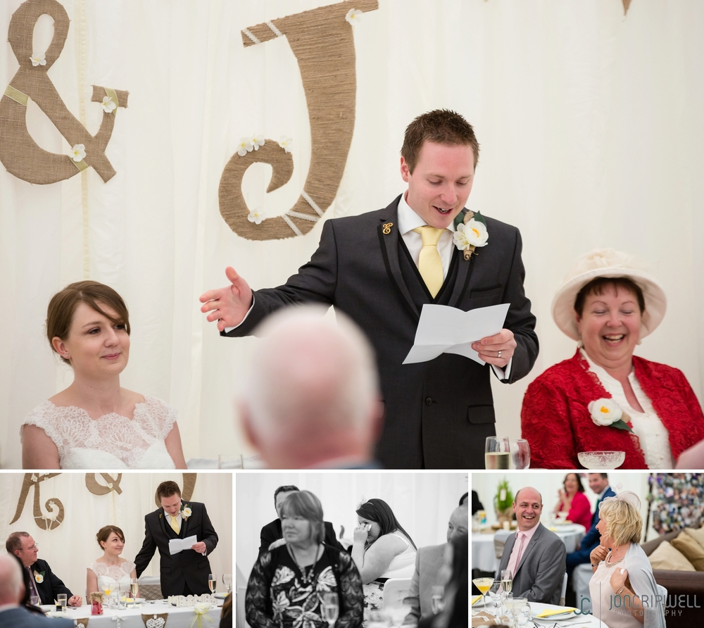 Rosliston Forestry Centre Wedding speeches in the marquee