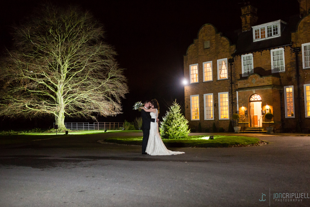 Bride and groom evening portrait at Kelham House Hotel