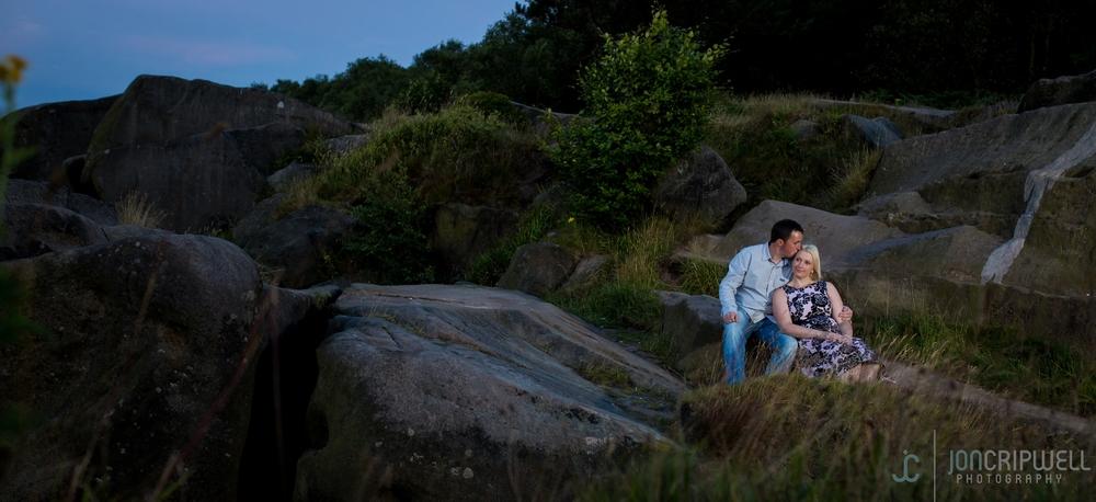 Romantic pre-wedding shoot at Black Rocks in Derbyshire