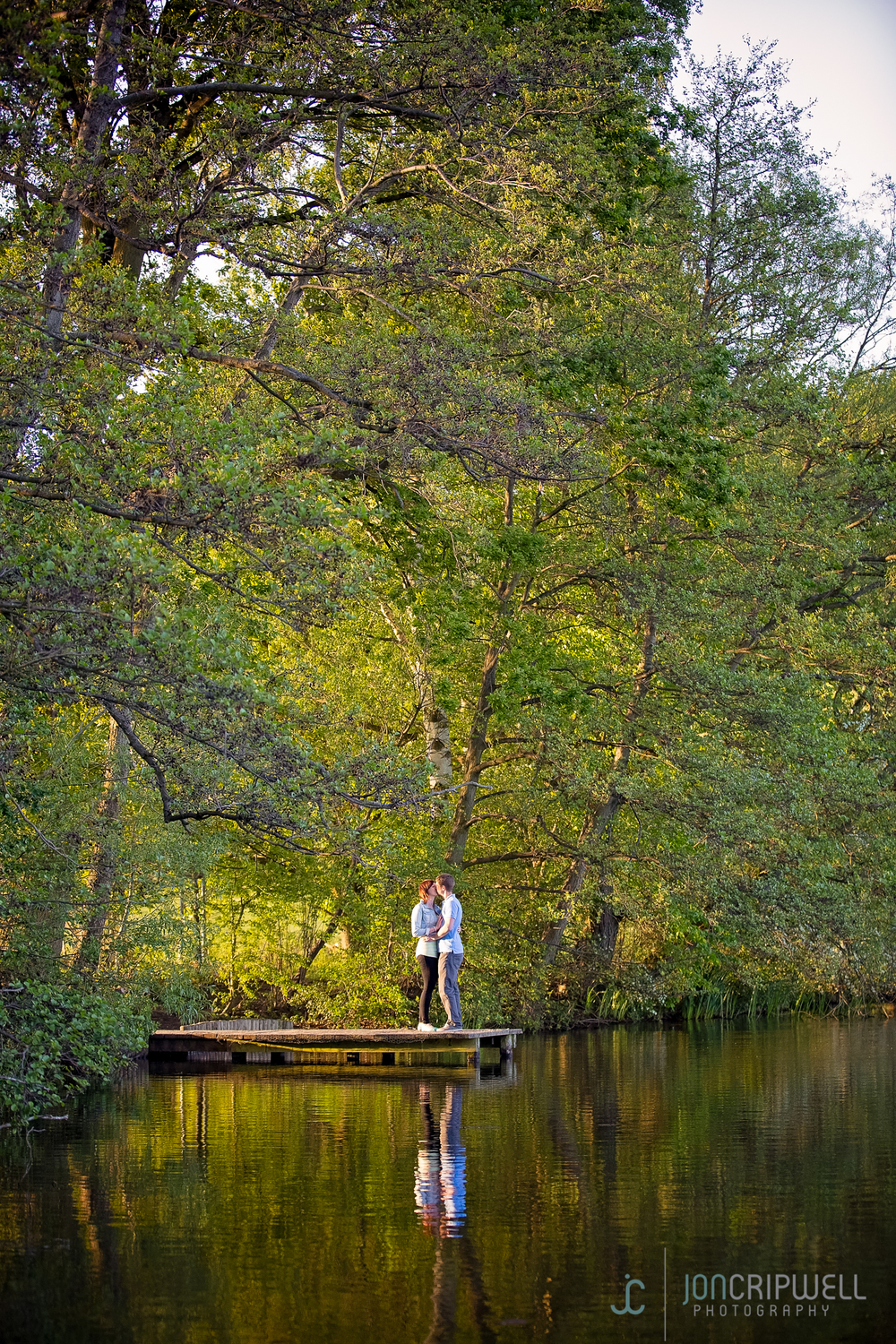Romantic engagement shoot by the lake in Allestree Park Derby