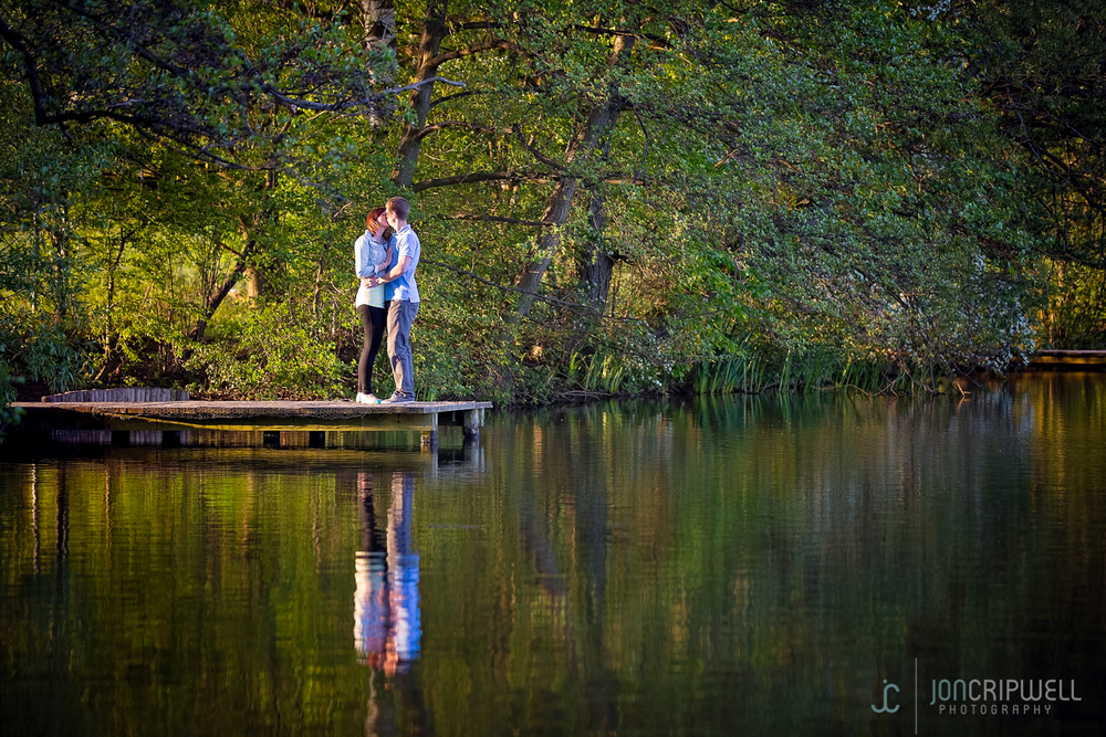 Engagement shoot Derby reflections in lake