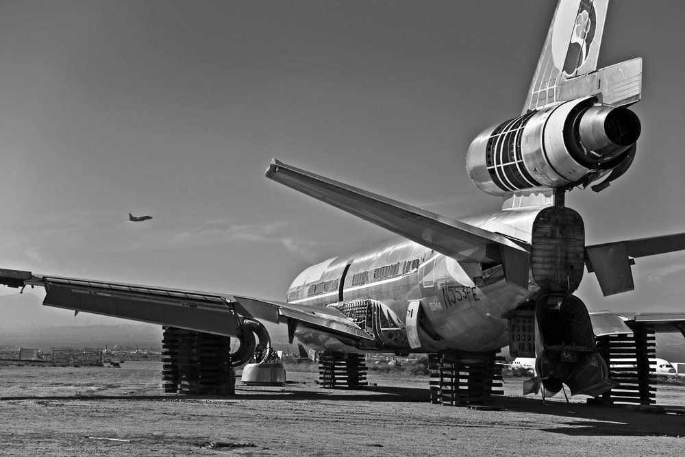 "Decommissioned plane at an ""airplane graveyard"" in the Mojave Desert.  Photo: Brandon Johnson"