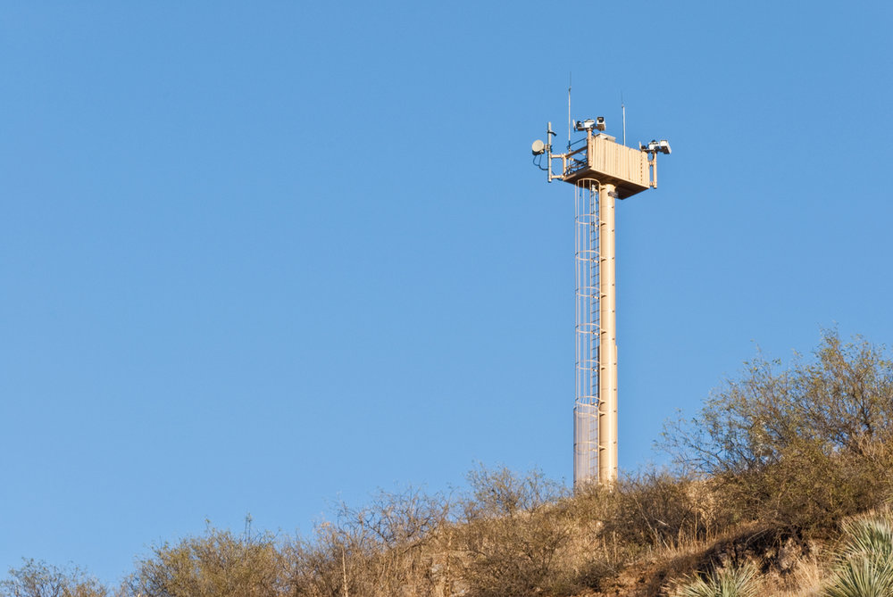 Surveillance tower on the US-Mexico border. Photo: Jeff Gouldon