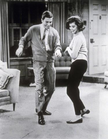 Dick Van Dyke and Mary Tyler Moore as Rob and Laura Petrie.