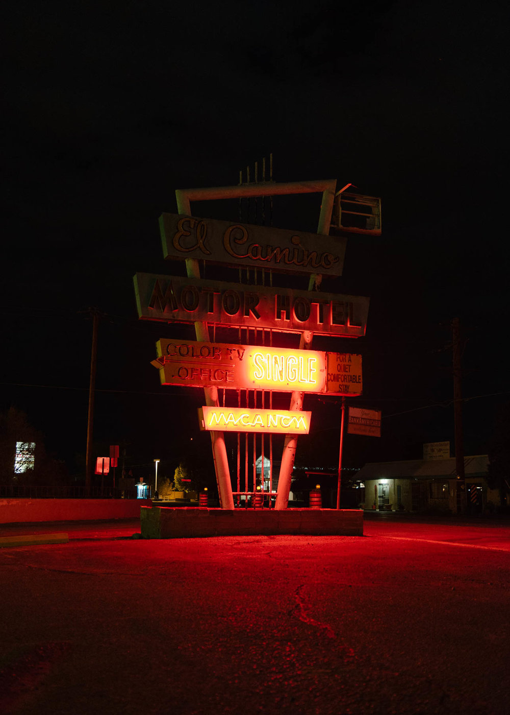 The El Camino Motor Hotel along the pre-1938 alignment of Route 66 in Albuquerque, New Mexico, 2017. Photo: Tag Christof