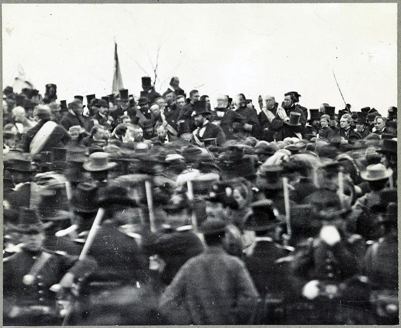 One of the two confirmed photos of Abraham Lincoln (middle, facing camera) at Gettysburg, taken about noon Nov. 19, 1863, just after he arrived and some three hours before his famed speech. Photo:  Library of Congress .