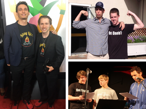 "Left: Brian Spitz wins YouTube ""Streamy Award"" for Psycho Family Documentary with Psycho Family Star, ""McNuggets""; Top Right: Mentoring Riekes student Alec Mullen; Bottom Right: Singing ""My Baby"" with Grant Evans and Jack McNally at a Riekes Recital"