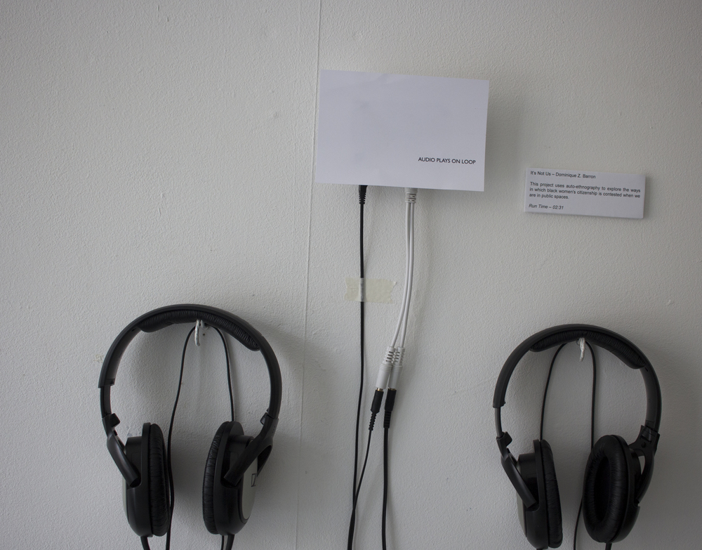 Image 06. Research documentation - audio recording with headphones on display at  Citizenship and Its Discontents  exhibition. Documentation photo taken 27 March 2015.