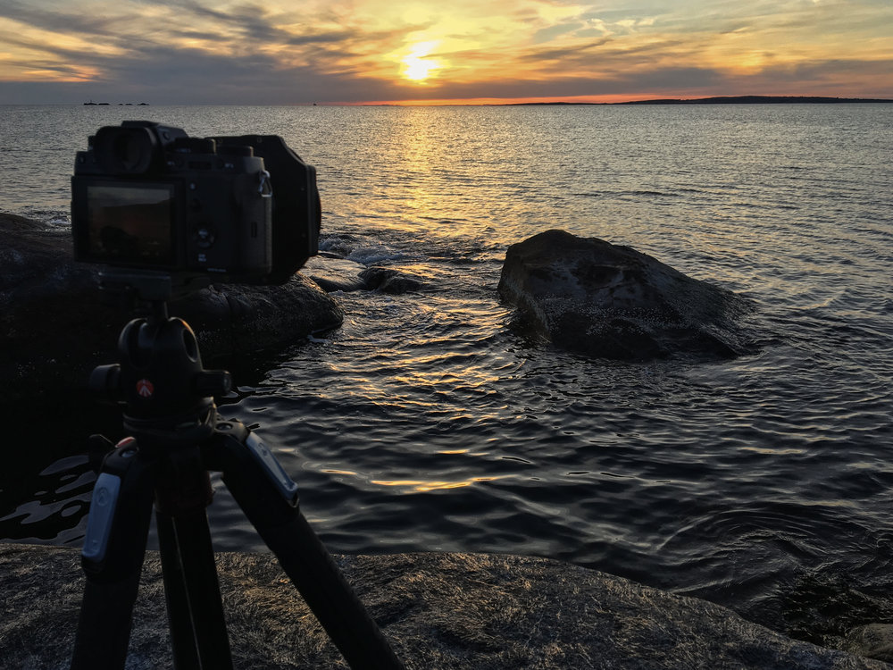 The X-T2 set up and ready to go for sunset. (Taken with the iPhone 6S)