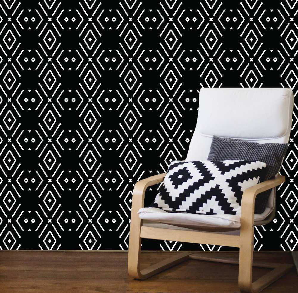 Noughts + Crosses - Ebony Wallpaper design