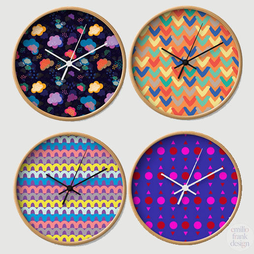 clocks, print and pattern, vibrant, modernist, Australian designer