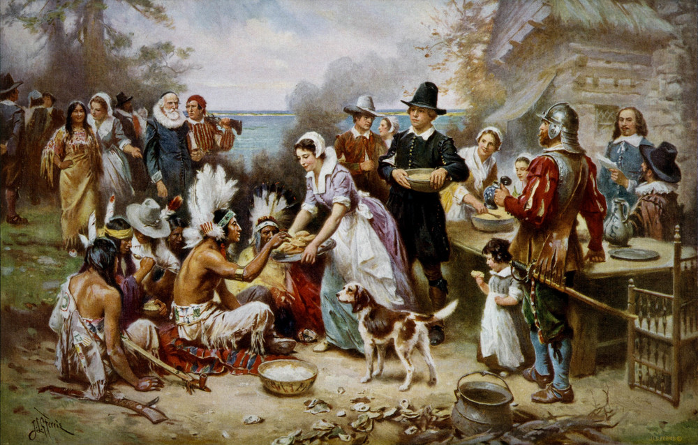 The First Thanksgiving 1621, oil on canvas by Jean Leon Gerome Ferris(1899). The painting shows common misconceptions about the event that persist to modern times: Pilgrims did not wear such outfits, and the Wampanoag are dressed in the style of Native Americans from the Great Plains.