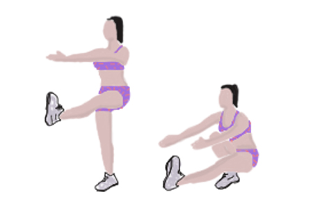 Pistol/ single-leg extended arm squats (40 seconds)