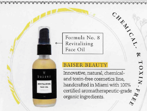 Baiser Beauty Revitalizing Face Oil featured on THRIVE magazine