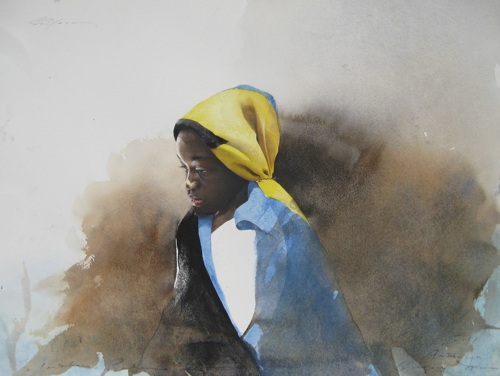 Antwonya, Eleuthera 2011 (Study for Pride) by Stephen Scott Young Framed, Original, Watercolor on Paper 15 1/2 x 20 3/4 inches