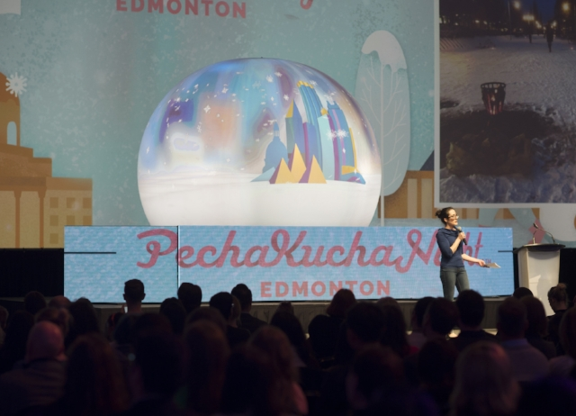 Emma Sanborn speaking at Pecha Kucha Night 27