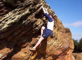 John bouldering at Agglestone Rock