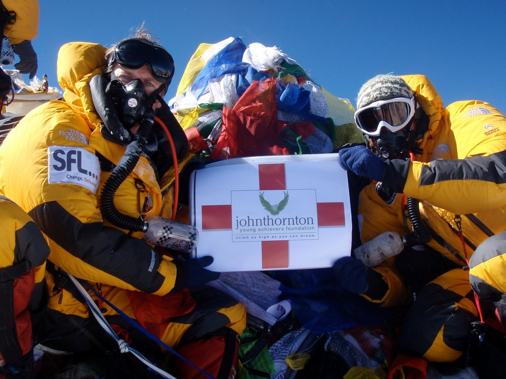 Matt, left and Peter right, at the top of the world.  The summit of Mount Everest in 2010