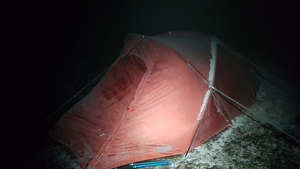 their frozen tent the next morning!