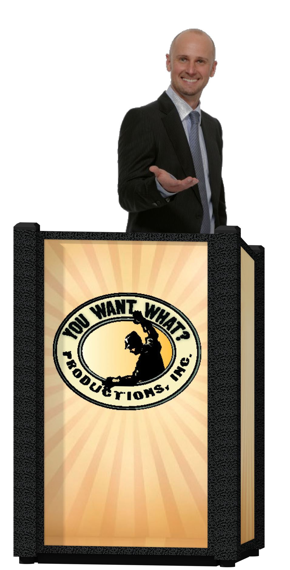 The Chameleon rental podium by You Want What? Productions INC