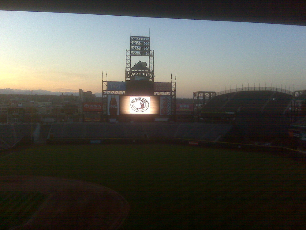 You Want What? Productions INC logo on Coors Field jumbotron