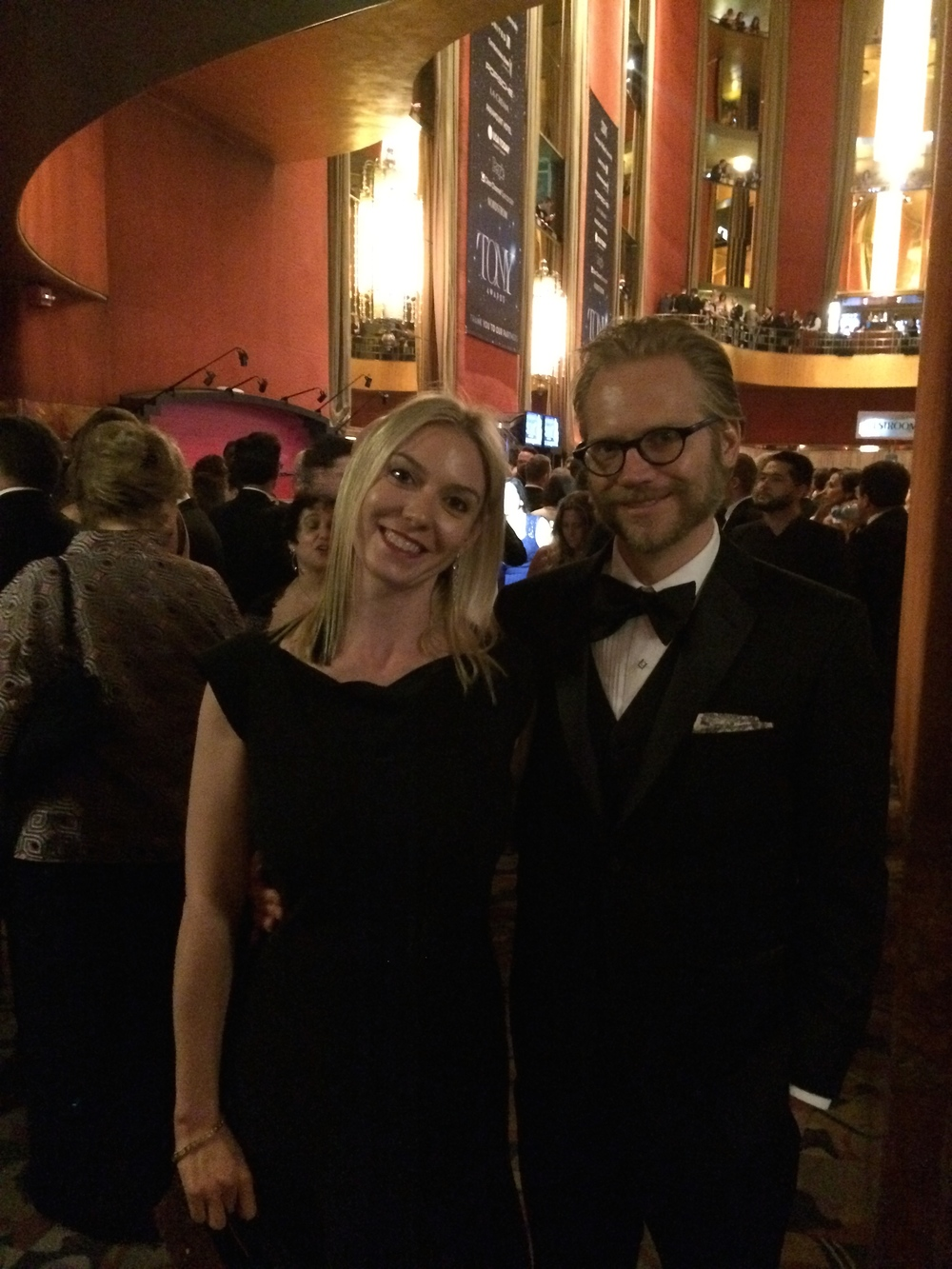 Nick Kargel and wife Emily Zeck at Tony Awards 2015