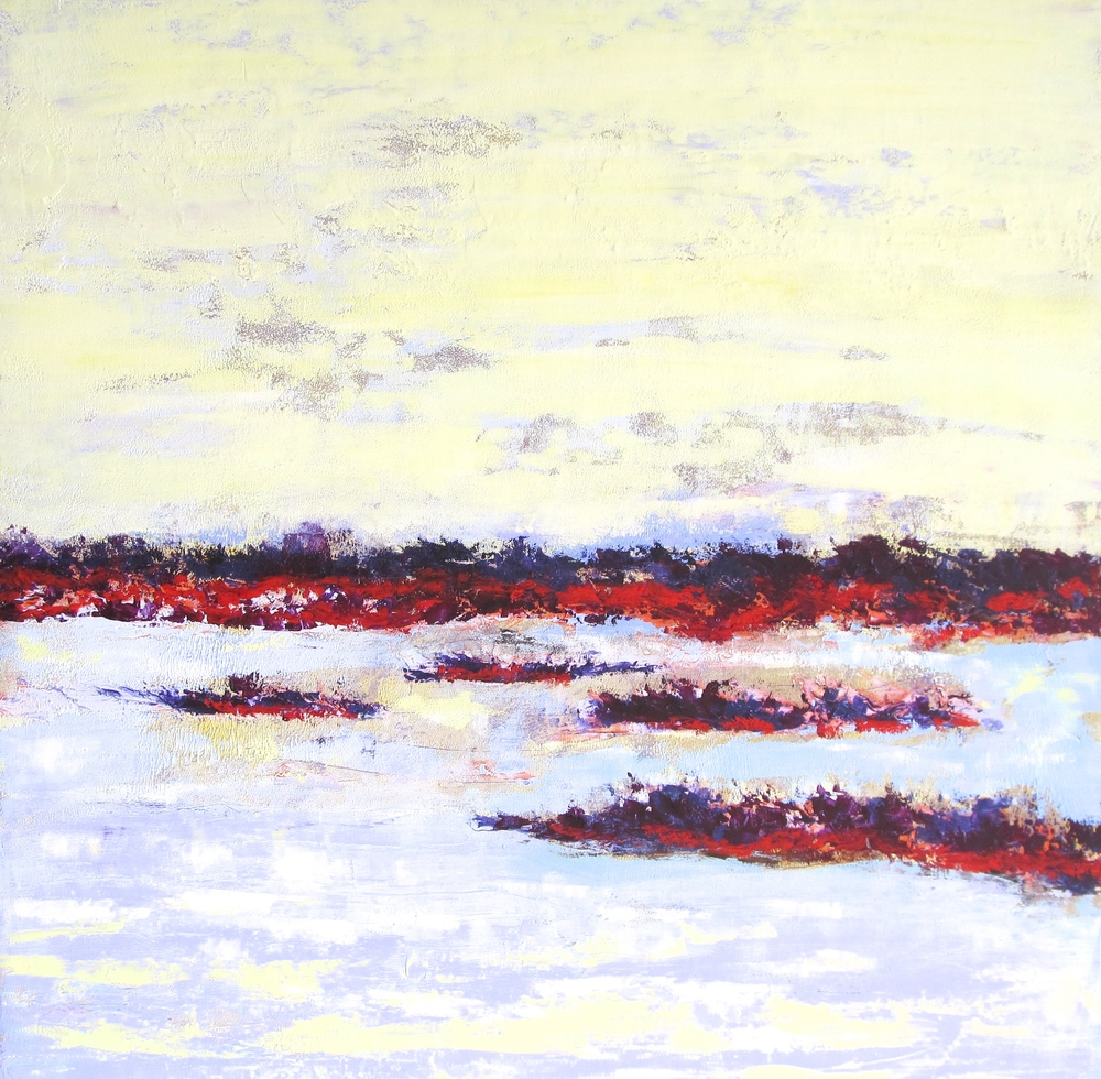 "Light on the Platte River #1, a 30x30"" painting on wood panel"