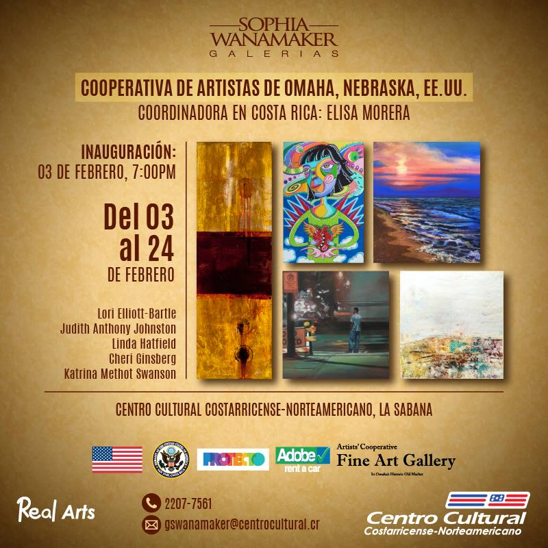 publicity announcement about Omaha artists showing work in Costa Rica