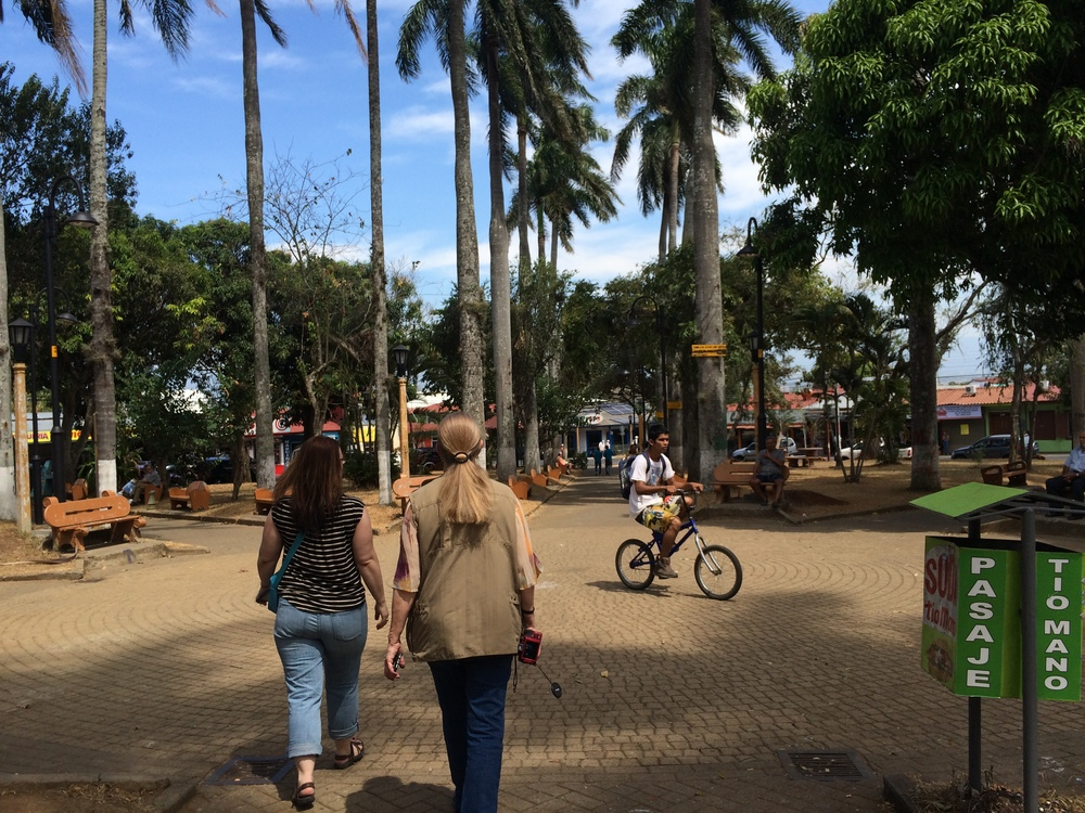 Katrina and Cheri stroll through the central plaza