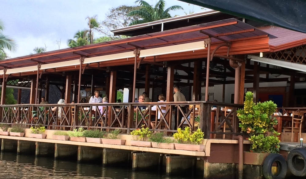 The open air dining room of Tortuga Lodge, seen from the Tortuguero Canal