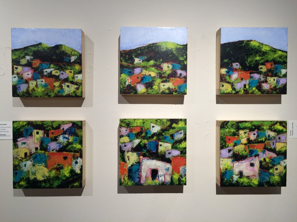 """San Jose Barrio,"" six 8x8"" cold wax and oil paintings on birch panels at the Nicholas Street Gallery, Hot Shops Art Center, Omaha, Neb."
